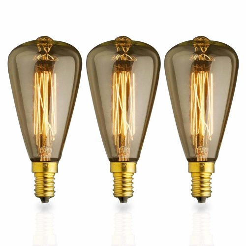 Kjlars 3x Vintage E14 25w St48 Yellow Light Bulb Edison Small Screw