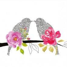 4 x Paper Napkins - Love Birds  - Ideal for Decoupage / Napkin Art