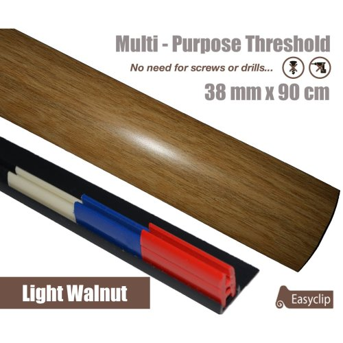 Light Walnut Multi Purpose Threshold Strip 90cm Adhesive Clip System