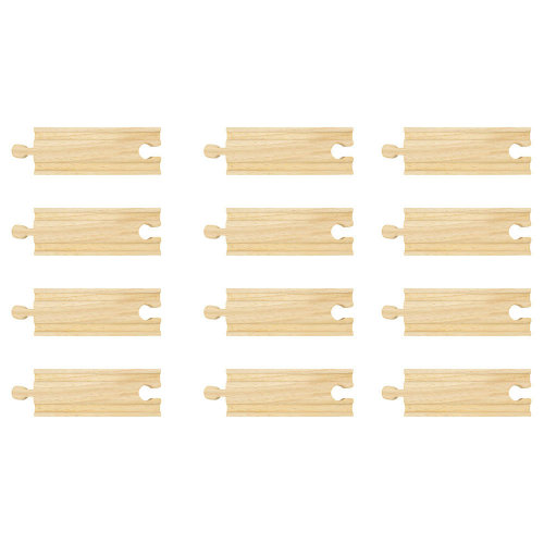 Bigjigs Rail Short Straights (Pack of 12) - Other Major Wooden Rail Brands are Compatible