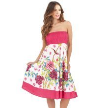 Pistachio, Ladies Two in One Cotton Summer Holiday Skirt Short Dress, Pink 2, Small (UK 8-10)