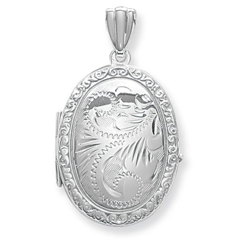 Childrens Sterling Silver Full Engraved Oval Locket On A Curb Necklace