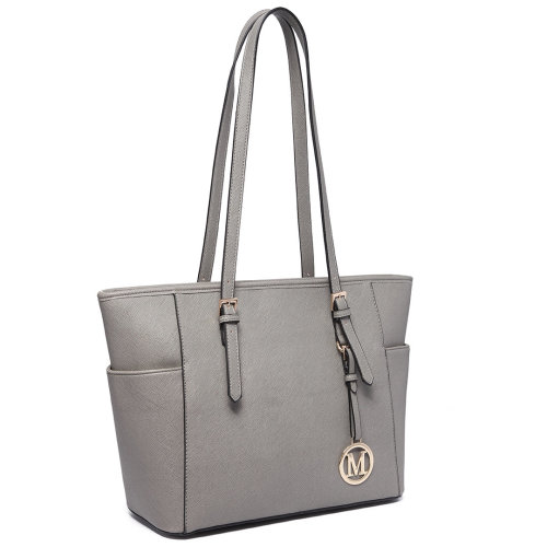 Miss Lulu Grey Faux Leather Tote Bag | Grey Shopper Bag With Zip