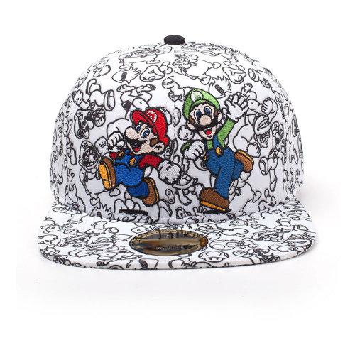 fdde35d8f5e NINTENDO Super Mario Bros. 2D Embroidered Mario   Luigi Snapback Baseball  Cap