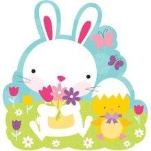 Bunny With Flowers Cutout - 26.6cm - Oster Deko Frhlich Bunt Zum Hngen Hase Mit -  oster deko frhlich bunt zum hngen hase mit blumen motiv 266 cm