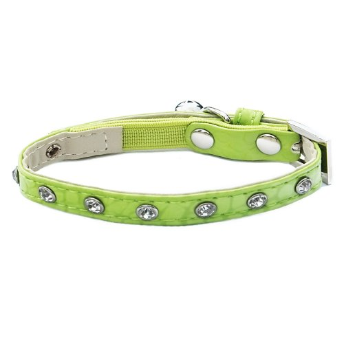 Catty Things Moc Croc Diamante Cat Collar Green (Pack of 5)