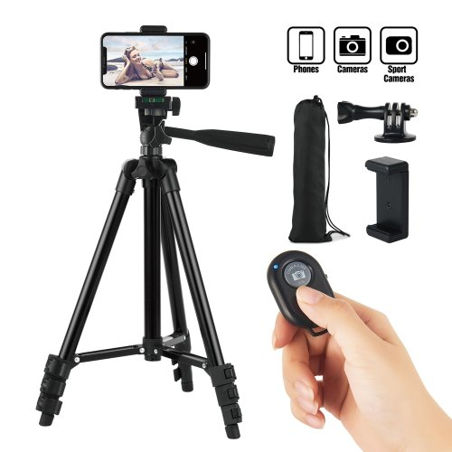 Hitch Phone Tripod, 42 Inch 106cm Aluminum Lightweight Tripod for iphone/Samsung/Huawei Smartphone, Camera with Bluetooth Remote Control, Carrying...