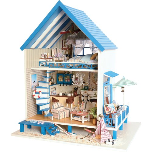 DIY Wooden Dollhouse Handmade Miniature Kit- Beach Storey villa Model & Furniture/Music box