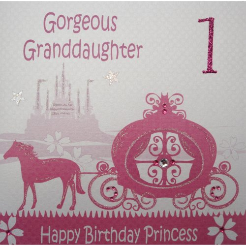 WHITE COTTON CARDS Horse And Carriage Gorgeous Granddaughter Happy Birthday Princess Handmade 1st Card On OnBuy