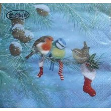 4 x Christmas Paper Napkins - Christmas Birds - Ideal for Decoupage