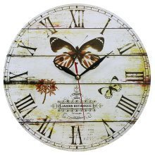 Obique Home Decoration 34cm MDF Butterfly & Jardin Scene Wall Clock