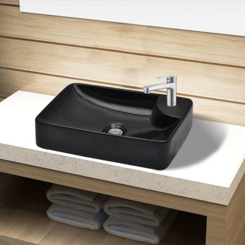 Ceramic Bathroom Sink Basin with Faucet Hole Black