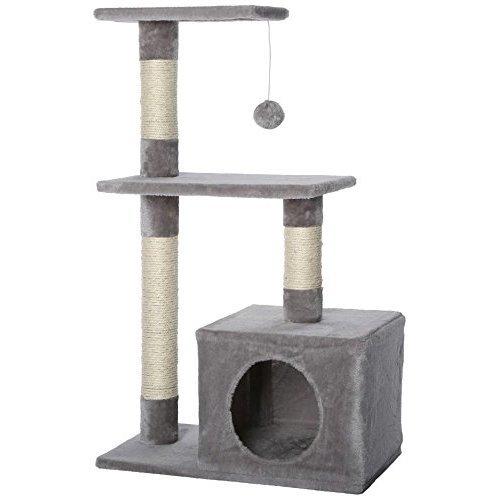 dibea Cat Tree Activity Centre Sisal Climbing Toy, 80 cm, Light Grey