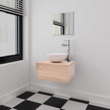 vidaXL Three Piece Bathroom Furniture and Basin Set Beige