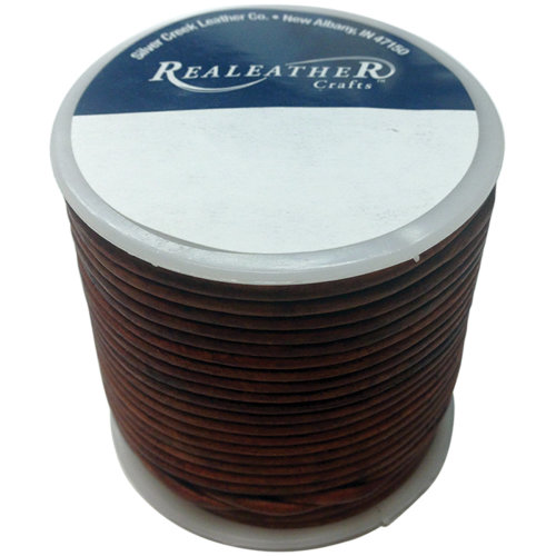 Realeather Crafts Round Leather Lace 2mmX25yd Spool-Cedar
