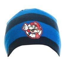 Super Mario Bros Striped Mario Badge Beanie One Size Blue/Black Model. KC08M0SMB