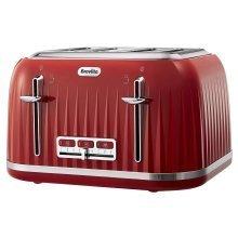 Breville Impressions 4 Slice Toaster Ridged Texture Design - Red (VTT783)