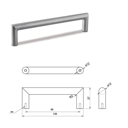 SMALL DOOR PULL HANDLE Stainless Steel C Bar Straight Bolt Fixing 96mm Pack of 25