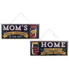 Mom's Home Cooking' Hanging Wooden Vintage Sign Pair Home Decor