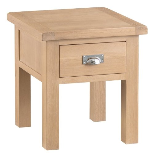 Langham Lime Washed Oak Lamp Table With Drawer