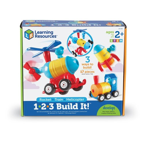 Learning Resources 1-2-3 Build It - Rocket-Train-Helicopter