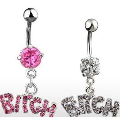 Multi Crystal Encrusted BITCH worded Surgical Steel Belly Bar