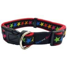 """1/2"""" x 10-14"""" Black Star Print Adjustable Dog Collar -  hem boo collar stars black dog nylon collars adjustable small 12x1014"""