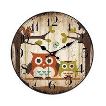 Brown Sitting Room/Bedroom Mute Wall Clock Quartz Clock