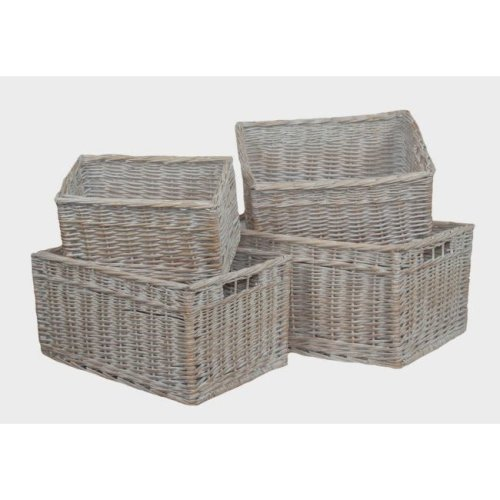 White Wash Storage Wicker Open Baskets Set of 4