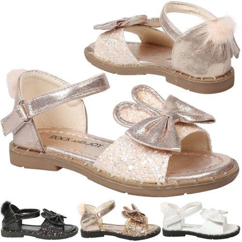 Kyra Girls Kids Toddler Bunny Ear Glitter Ankle Strap Sandals Childrens Shoes