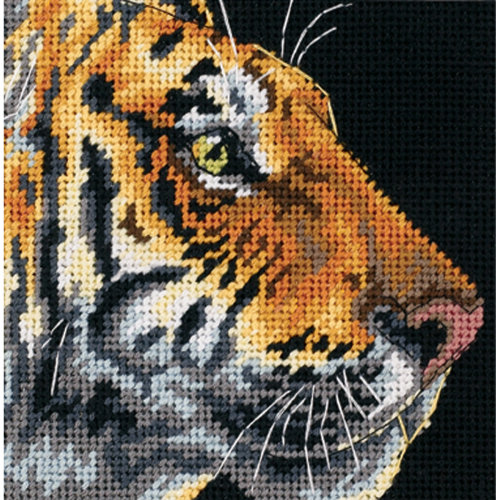 "Dimensions Mini Needlepoint Kit 5""X5""-Tiger Profile Stithced In Thread"