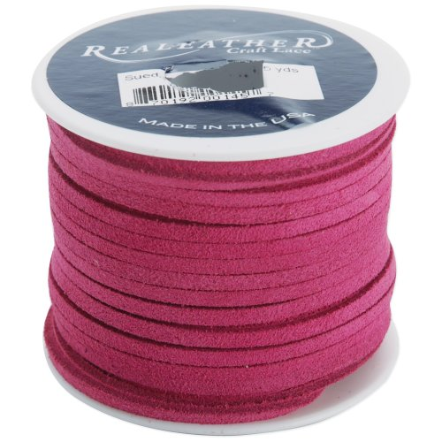 """Realeather Crafts Suede Lace .125""""X25yd Spool-Pink"""