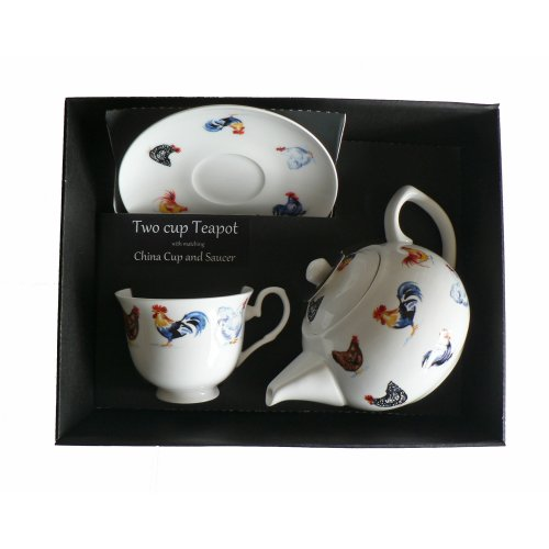 Chicken Teapot cup & saucer set - Porcelain teapot,china cup & saucer in box