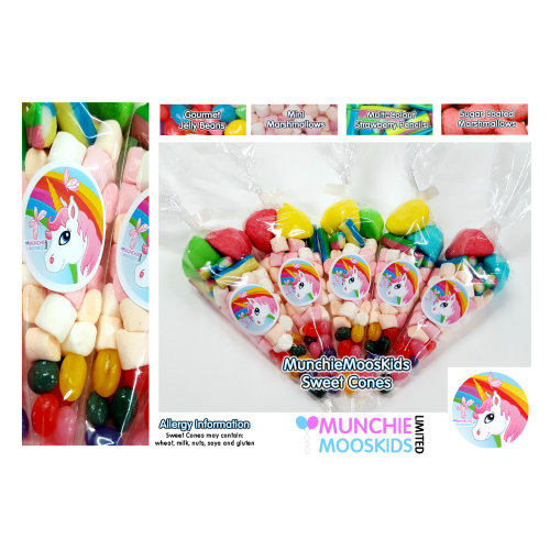 10 x Pre Filled Unicorn Sweet Cones 50 grams - Party Bag Sweets