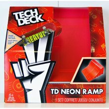 Spinmaster Tech Deck Neon Ramp, Red Quarter Pipe