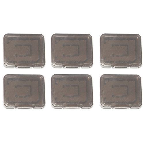 Individual tough plastic cases for SD SDHC SDXC & Micro SD memory cards semi transparent - 6 pack black - Assecure
