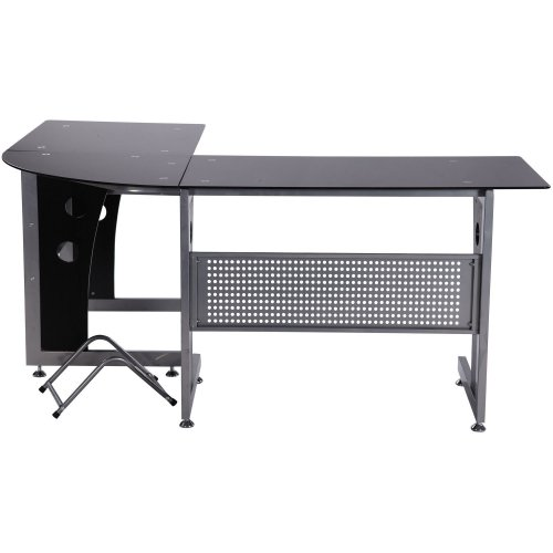 Homcom Black Glass Reversible Office Desk | Corner Computer Desk