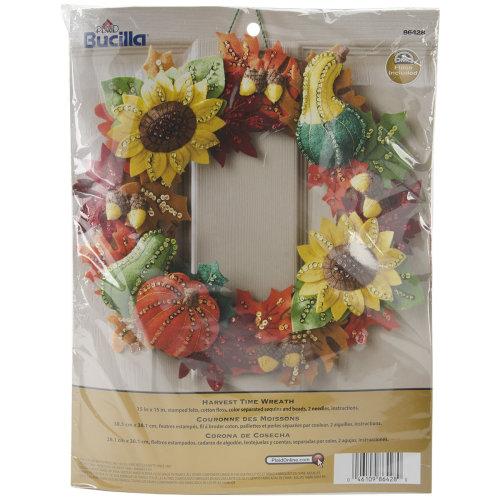"Bucilla Felt Wreath Applique Kit 15"" Round-Harvest Time"