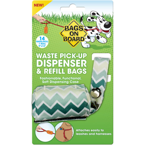 Bags On Board Fashion Dispenser W/14 Bags-Green Chevron Print