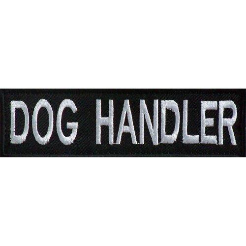 Embroidered DOG HANDLER Patch -Black-14 x 4cm