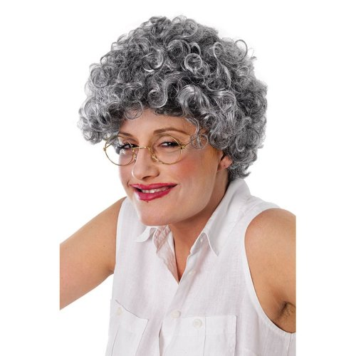 Grey Adults Old Lady Curly Wig - Fancy Dress Accessory -  wig old curly lady fancy dress grey accessory