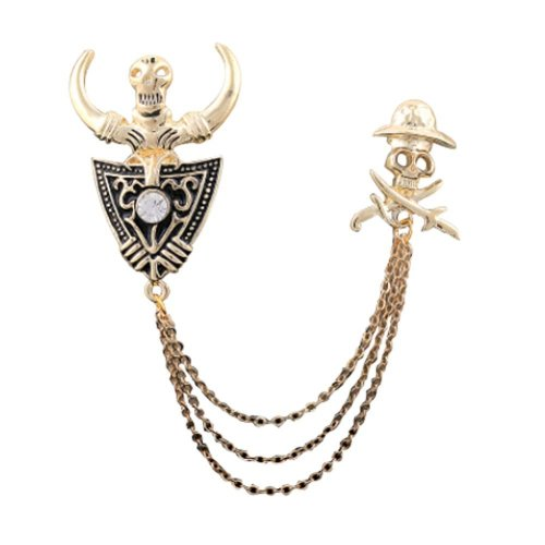 New Gold Plated Ox horn and Skull Pattern Brooch with Chain Tassels