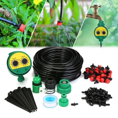 KINGSO Micro Flow Drip Watering Irrigation Adjustable Kits System Self Plant Garden Hose Automatic Watering Kits (full set)