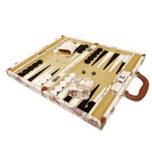 NEW! - 15-inch Luxurious Map Backgammon Set - White Board