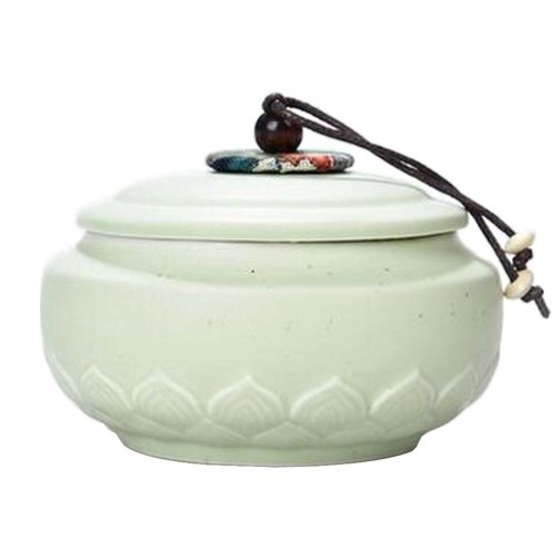 e19445382 Ceramic Tea Canister Portable Coffee Jar Sealed Tea Caddy, Green Lotus on  OnBuy