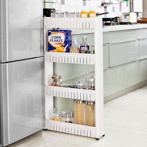 Taylor & Brown 4 Tier Slim Slide Out Kitchen Bathroom Trolley Rack Holder Storage Shelf Organiser on Wheels