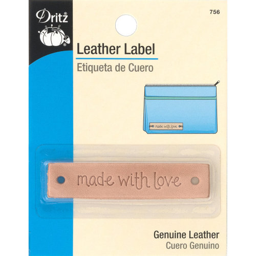Dritz Leather Label-Made With Love-Rectangle