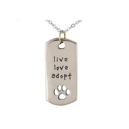 Silver-Tone 'Live Love Adopt' Engraved Pendant Necklace