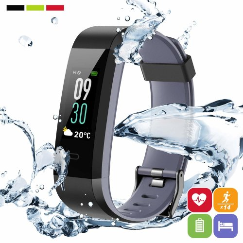 Fitness Trackers HR,PORTHOLIC Activity Tracker with Heart Rate Monitor IP68 Waterproof Color Screen Fitness Bracelet with Pedometer Step/Calorie...