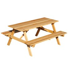 Outsunny 4 Seater Wooden Picnic Table Bench Garden with Parasol Cutout